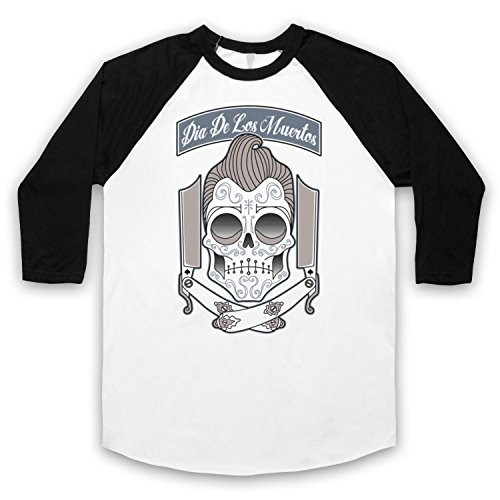 Dia De Los Muertos Mexican Day Of The Dead 3/4 Hulse Retro Baseball T-Shirt Weis & Schwarz