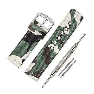Vinband Cinturini Orologi Alta qualità Orologi Bracciale Militari dell'esercito Camuffare - 18, 20, 22, 24mm Cinturino Orologio Addensare Fibbia Dell'acciaio Inossidabile (22mm, Camuffamento Verde)