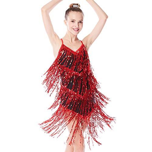 MiDee Mädchen Pailletten Quasten Latein Kleid Ballroom Tanzen Kostüm (Rot, SA) (Tap Dance Kostüme Kinder)