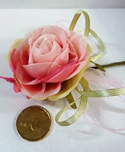 Set 10 pezzi, Bomboniera bouquet rosellina con foglie (diametro 6cm.)x segnaposto, confettata (ck1289) ROSA-FUXIA