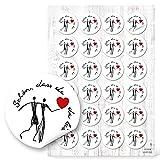 48 SCHÖN DASS DU DA BIST Herz Aufkleber Ehe-Paar rund 4 cm schwarz weiß rot Geschenkaufkleber Verpackung Gastgeschenk Mitgebsel give-away Tischkarten basteln Hochzeit Kommunion Geburtstag HERZMENSCH
