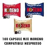 100 CAPSULE CAFFE' MORENO MIX TRE MISCELE COMPATIBILITA' NESPRESSO