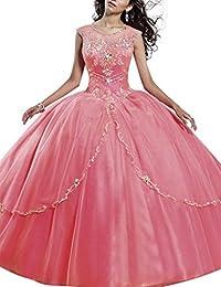 HUINI Moldeado Cristalino de la Capucha del Dulce 16 de Quinceanera del Vestido de Bola Vestido