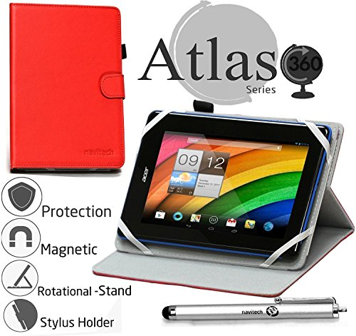 Navitech rotierbares bycast Leder Case / Cover in Rot für das Acer Iconia One 7 B1-780 (Rotes Leder Bycast)