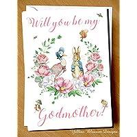 Will You Be My Godmother? Peter Rabbit Beatrix Potter Greetings Card Godmother Pink Florals Gift Christening Baptism Naming Day Church Jemima Puddleduck Pink Blue Boy Girl Godparent Godfather Guardian