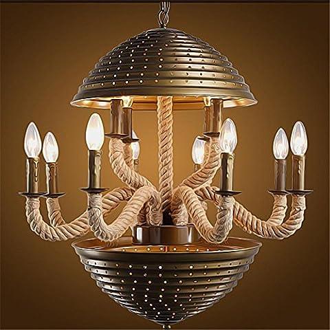 WSND Creative personnalité rural Loft Light Fer Lustres Cafe Bar Salon Retro Industrie corde de chanvre ingénierie Pendant Lamp, 220v