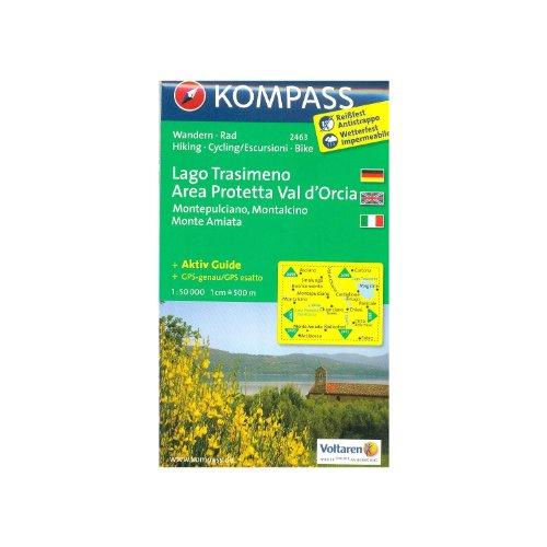 Lago trasimeno, area protetta val d'orcia (toscana, italia) 1:50.000 carta escursionistica topografica kompass # 2463