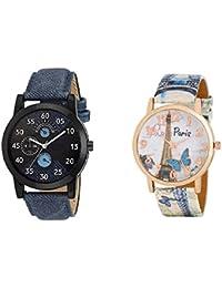 Maan International Analogue Blue Dial Men's & Women's Couple Watch (M-Lr-02+Paris-Blue0512)