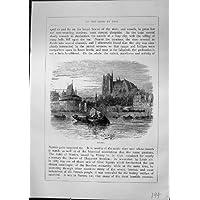 Stampa Furber 1882 di D'Amboise la Loira del Castello di Architettura delle Barche di Fiume di Nantes - Castello Di Amboise