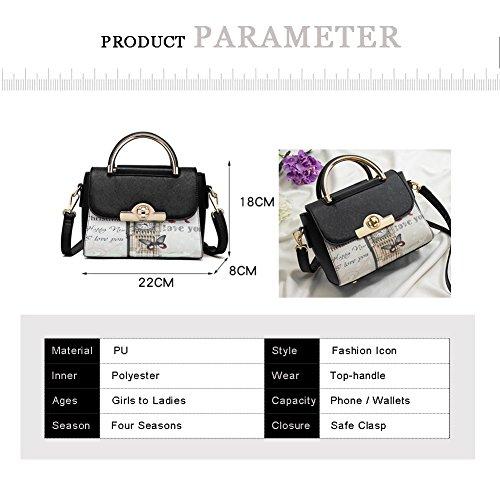 Yoome Print Tiny Crossbody Handtaschen Kreuz Muster Top Handle Satchel Elegant Taschen Für Frauen - Burgund Burgund