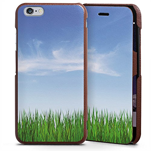 Apple iPhone 6 Plus Handyhülle mit Klappfunktion braun Lederhülle Flip Case Wiese Horizont Gras