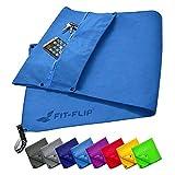 Fit-Flip Fitness Handtuch Set mit Reißverschluss Fach + Magnetclip + extra Sporthandtuch | zum Patent angemeldetes Multifunktionshandtuch, Microfaser Handtuch (blau)