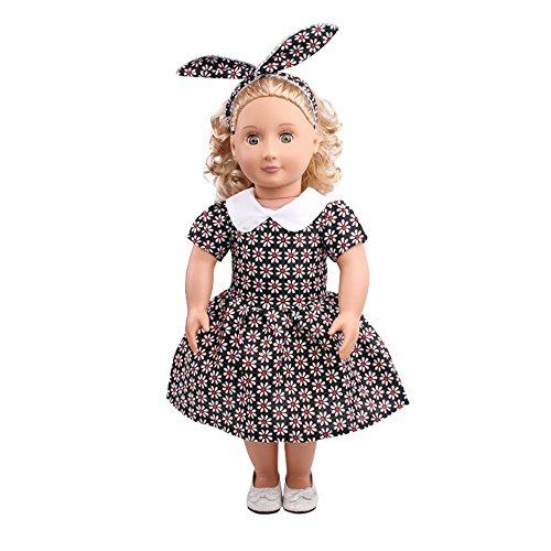 Vestido Floral Estampado Moda Vintage + Diadema de Conejo para 18 Pulgadas Muñeca Americana Chica Gusspower