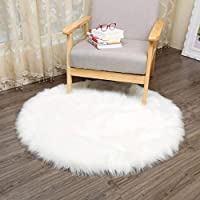 Piel de Imitación,Cozy sensación como real, excelente piel sintética de calidad alfombra de lana - 30 x 30 cm (Ronda blanca)