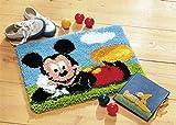 Vervaco PN-0014720 Knüpfteppich Mickey Mouse Knüpfpackung zum Selbstknüpfen eines Teppichs, Stramin, Weiß, 45 x 35 x 0, 30 cm