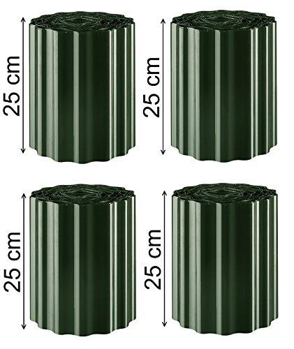 36m Rasenkante Grün / Tannengrün 25 cm hoch Gartenpalisade Beetumrandung Palisaden Rasenborde