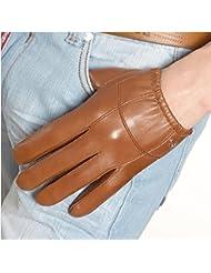 Los guantes calientes guantes y cómoda Guantes de cuero de los hombres de conducción guantes de cuero frío hombres calientes que montan una sección delgada de Invierno Guantes de piel de oveja ( Color : Marrón , Tamaño : S )