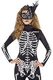 Faschingsfete Damen Skelett Jumpsuit, Kostüm, Halloween, Schwarz, Größe L/XL