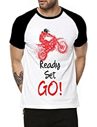 Fanideaz Cotton Ready Set Go! Racing Bike Half Sleeve Raglan T Shirt For Men
