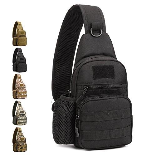 Freedom-vp Damen Herren Military Tactical Umhängetasche Brusttasche Rucksack mit einem Gurt Sling Bags einseitige Rucksack Crossbag Uni Rucksack für Radfahren Wandern Camping Freizeit Tasche Schwarz—1
