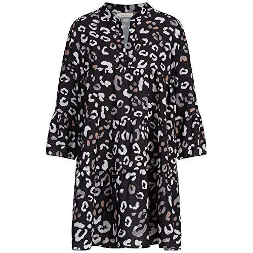 Blogger Style Damen Strand Kleid Sommer Tunika OneSize Leo Schwarz