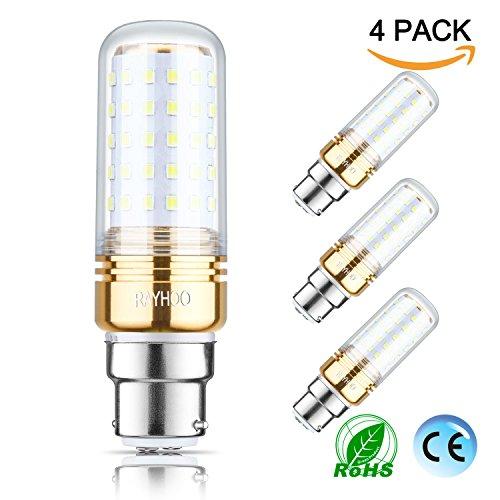 Rayhoo LED-Leuchtmittel mit B22-Sockel, 15W, 150Watt Äquivalent zu regulärem Leuchtmittel, 1500lm, Wram, weiß, 2700K, für Kandelaber, Kronleuchter, dekorative Kerzenform, nicht dimmbar, 4Stück