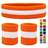 HikBill Schweißbänder Set inkl Sport Stirnband und Handgelenk Schweißbänder für Laufen Fahrrad Joggen Tennis Fußball (Orange/White/Orange)