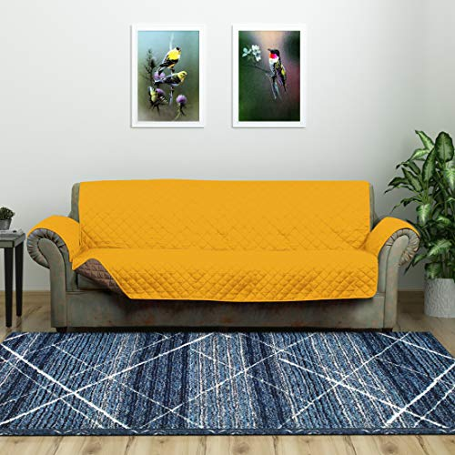 @home by Nilkamal Reversible 3 Seater Polyester Sofa Cover, Mustard and Brown