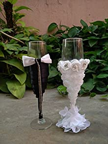 Satyam Kraft Diwali Collection Glass Fancy Bridal Wine Glasses SET of 2 Wedding Gift for Couple,Couple Wine Glasses