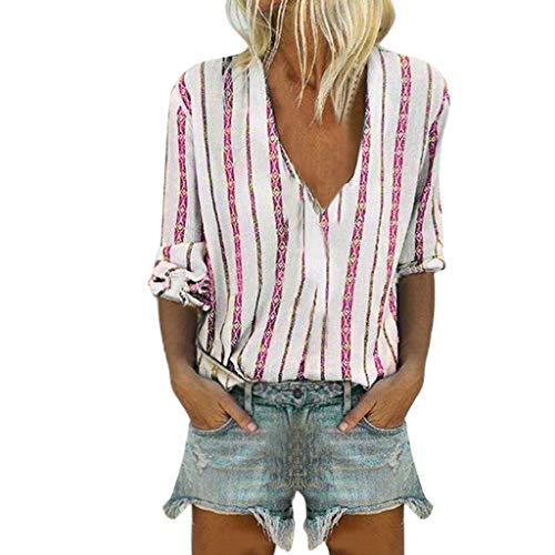 Lässige Damen Leinen Hemden Solide O-Ausschnitt Langarm Beiläufige Lose Tunika Oberteile T-Shirt Bluse Damen Sommer Gestreifte Freizeit Oberteile Damen Shirt V-Ausschnitt Bluse