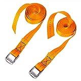 CSTOM 2x 250kg Cinghie di Fissaggio con Fibbia Tensionamento Rapido - 2.5m x 25mm, Arancione
