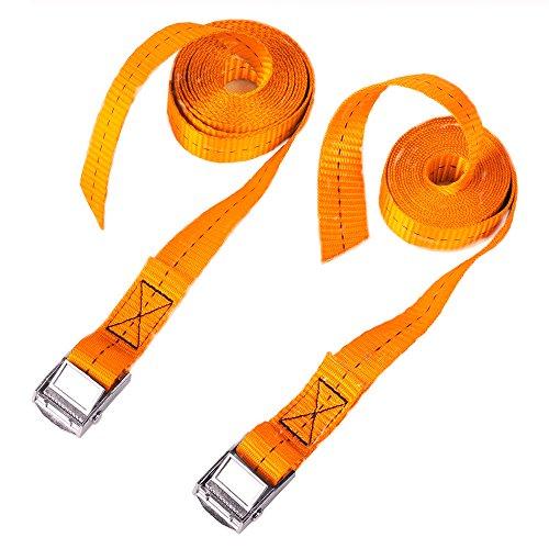 CSTOM 2 Stück Spanngurt Zurrgurt Lashing Straps mit Klemmschloss Schnellverschluss - 2.5m x 25mm Breite, 250Kg Orange