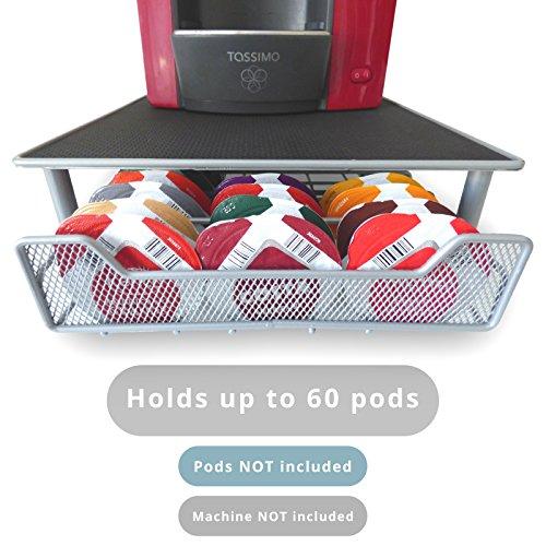 60 T-Disc Pod Tassimo Coffee Holder & Dispenser Stand Drawer Storage M&W Grey