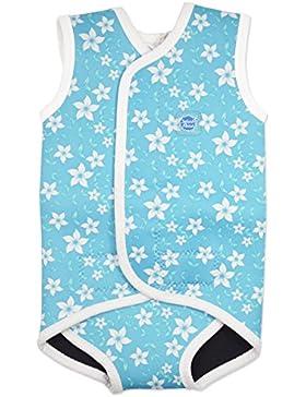 Splash About - Bañador de bebé de neopreno, diseño de flores, color azul, grande, 18-30meses