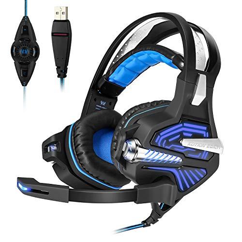 Mengshen Usb-Gaming-Headset - Mit 7.1 Surround-Stereo-Sound, Mikrofon, Vibrations-Effekt, RauschunterdrüCkung, LautstäRkeregler, Led-Licht - FüR PC-Spieler, GM9 Blue