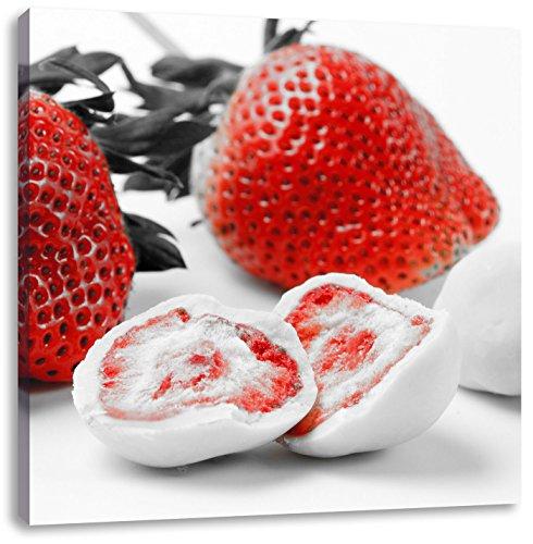 Pixxprint Köstliche Erdbeeren mit Schokolade umhüllt Schwarz/Weiß, Format: 40x40 auf Leinwand -