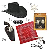 Cowboy Set Western Fasching Karneval Kostüm für Erwachsene mit Cowboyhut Hut, Cowboy Halstuch Tuch rot Bandana Western Bandana, 2 Revolver Pistole mit Halfter, Holster, Munitionsgürtel für Kinder und Erwachsene
