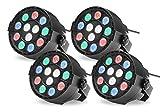 4x Showlite SPS-121 LED Smart Party Spot (3 rote, 3 grüne, 3 blaue und 3 weiße LEDs mit je 1 Watt Leistung, DMX-Betrieb möglich, klein, kompakt & leistungsstark, leiser Lüfter) Schwarz