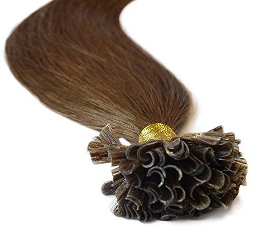 Verklebt Haarverlängerung (Haarverlängerung, 100% Echthaar, vorgebundene Strähnen, Bondings / Nail-Tip, Remy-Echthaar, Güteklasse AAA, glatt, 55,9 cm, #6 Mittelbraun, 100 Strähnen)