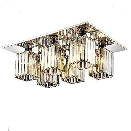 Kristall Deckenleuchte Lampe Moderne Luxus K9 Kristall Schatten Kronleuchter Platz Chrom Edelstahl Leuchte für Schlafzimmer Wohnzimmer Küche Esszimmer Loft Hotel Beleuchtung, E27, 6 Lampe Lichter - Zeitgenössische 6 Light Halogen Kronleuchter