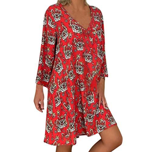 Vestido Flores para Mujer Talla Grande Vestido Bohemio con Cuello en V de Manga Larga Sueltos Floral Mini VestidoAnimal Print Primavera Informal Rojo XXL