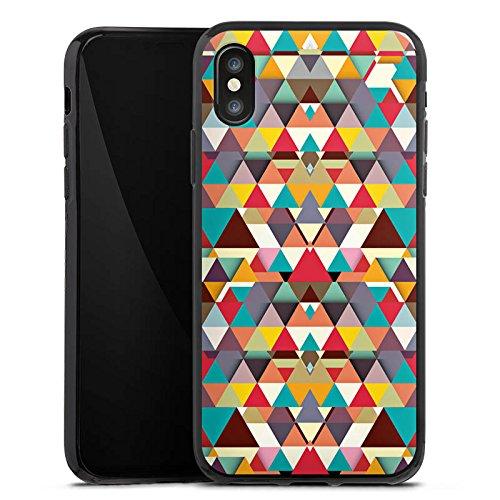 Apple iPhone X Silikon Hülle Case Schutzhülle Dreiecke Muster Hipster Silikon Case schwarz