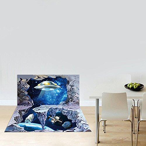 3D-Landschaft durch Wände abnehmbare wasserdichte Aufkleber Wohnzimmer Schlafzimmer Kinder Wandmalereien wall Poster 90*60 cm, Raumfahrzeuge Extraterrestrische
