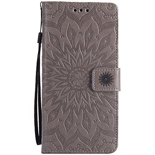 Für Sony C6 Fall, Prägen Sonnenblume Magnetische Muster Premium Soft PU Leder Brieftasche Stand Case Cover mit Lanyard & Halter & Card Slots ( Color : Gray ) Gray