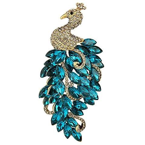 EVER FAITH® Austrian Crystal Noble Peacock Blue Feather Antiqued-Gold-Tone Brooch N05368-4