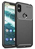 "Case Collection Brushed Carbon Fiber Back Design Cover for Motorola One Case 5.9"" Slim-Fit Shock Absorption Anti Scratch Protective TPU Bumper for Motorola One Phone Case"