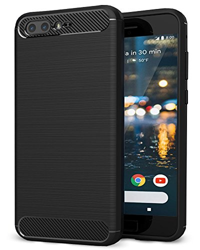 Asus Zenfone 4 Max ZC554KL Hülle, Ferlinso Leicht Flexible Rugged Armor Hybrid Defender Shockproof Schutzhülle Carbon Fiber Design Cover mit [Schutzfolie] für Asus Zenfone 4 Max ZC554KL (Schwarz)