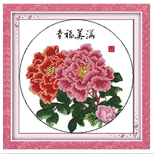 Glück 11CTAuf Leinwand Stickerei Kreuz Set DIY Set DMC Kreuzstich Stoff Chinesische Kreuzstich Muster 35 cm * 35 cm(11CT) -11CT -