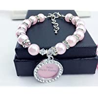Happy-little-bear Collar de Perlas Colgante con Forma de Tarjeta de Identidad Redonda (Rosa Claro S)