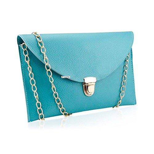 Pinzhi-- Borsa a tracolla a busta da sera, con catena, colore: oro (Blu pavone)